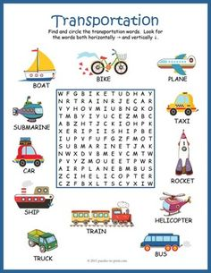 Help beginning readers learn the names and spelling of 12 transportation vocabulary words with this colorful and fun word search worksheet. The words are hidden in the letter grid and may be placed horizontally or vertically (no diagonal, backwards, or English Worksheets For Kids, English Lessons For Kids, Kids English, Learn English, English Activities For Kids, Word Puzzles For Kids, Puzzles Für Kinder, Word Games For Kids, Transportation Worksheet