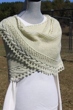 Hand knitted shawl with custom mill spun yarn gift by FARMSPUN