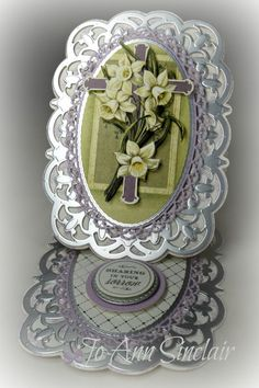 Easel card, made with paper, cross and sentiment from Anna Griffin. Pop Out Cards, Side Step Card, Christian Cards, Anna Griffin Cards, Step Cards, Fancy Fold Cards, Easel Cards, Sympathy Cards, Flower Cards