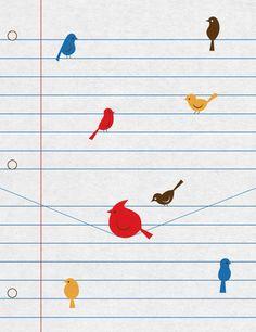 Birds on 'wires' #illustration #art