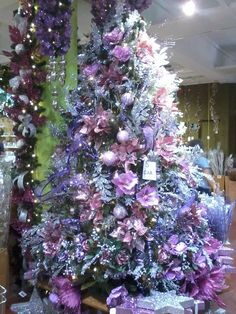 Soft Purples and Silver Ornaments