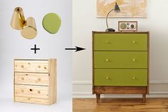 IKEA Dresser: One Piece, Five Ways See how we transformed this simple, flat-pack dresser into a mid-Century Modern classic. IKEA hack: Pax Dresser (Christina Dueholm) Ways To Hack IKEA Spice Racks – Josie K. Upcycled Furniture, Furniture Projects, Painted Furniture, Bedroom Furniture, Diy Furniture, Modern Furniture, Furniture Design, Furniture Stores, Vintage Furniture