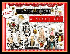 ART TEA LIFE Vintage Circus Kit Scrapbook Collage Sheet Set of 4 Journal Page decoupage card tag atb atc by onecrabapple on Etsy https://www.etsy.com/listing/207896209/art-tea-life-vintage-circus-kit