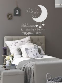 to the moon and back wall decal – Decoration ideas Home Bedroom, Kids Bedroom, Bedroom Decor, Wall Decor, My New Room, My Room, Girl Room, Happiness Is Homemade, Teen Room Decor
