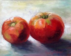 Red Tomato Food Painting 8x10 Canvas Original Oil by ChatterBoxArt