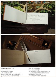 From: South Dakota Wedding Magazine, handmade leather guestbook by jemleathers.com (my brother and sister-in-law make each one by hand!)