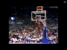 Michael Jordan competes in the dunking competition
