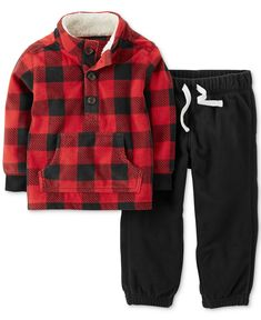 Carter's Baby Boys' 2-Piece Microfleece Pullover & Pants Set - Kids Baby Boy (0-24 months) - Macy's Baby Boy Winter Clothes, Carters Baby Boy Clothes, Baby Boy Outfits, Baby Kids Clothes, Outfits Niños, Kids Outfits, Baby Flannel, Red Plaid, Baby Boy Fashion