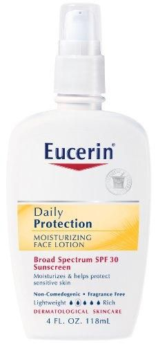 Eucerin Daily Protection Moisturizing Face Lotion, SPF 30, 4-Ounce Bottles (Pack of 2)***Formerly named as Everyday Protection Face Lotion,Oil-free, non-comedogenic (won't clog pores),SPF 30 UVA/UVB protection,Safe and effective; dermatologist-recommended,Please read all label information on delivery,Provides 24-hour moisturization for sensitive skin,.