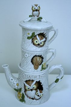 Tea for Two Vintage Enesco Owl Tea Set. $35.00, via Etsy.