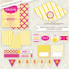 Custom Color  PRINTABLE Party Collection and by TickledTealPaperie, $26.50