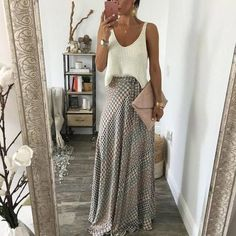 maxi skirt elegant outfit, clutch