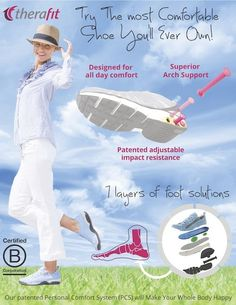 Therafit Shoe is committed to making the most fashionable, comfortable women's foot support sneakers, sandals & casual shoes approved by the American Podiatric Medical Association. Designed for optimal support and cushioning with the goal of providin
