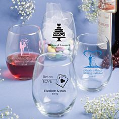Personalized 15oz Stemless Wine Glasses. Cute and practical idea for wedding favors.