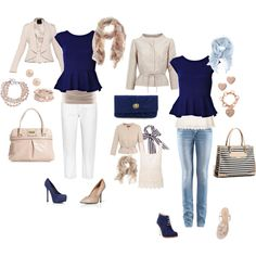 """""""Blue and beige mix and match"""" by lulums on Polyvore"""
