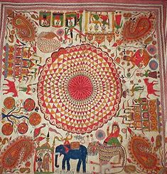 The lotus is commonly featured at the center of Kantha designs, with all the other motifs and pictures radiating outward from it. The centra...