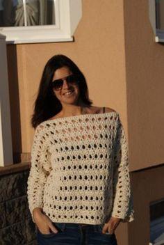Häkle Dir jetzt +gratis+ einen schönen Pullover mit leichtem Garn für den Sommer. Wenn Du dickeres Garn nimmst, kannst Du einen Pulli für den Herbst häkeln.
