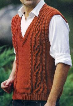 If I ever do become a history teacher I'll need one of these to fit the bill… Gents Sweater, Mens Knit Sweater, Knit Vest, Sweater Knitting Patterns, Lace Knitting, Mens Fashion Sweaters, Vest Pattern, Knitwear, Sleeveless Sweaters