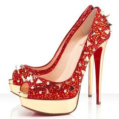 Christian Louboutin Very Mix Strass Peep Toe Pumps 140mm Red