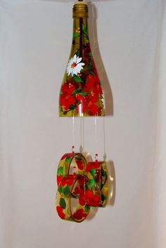 Wind Chime Strawberry blossom made from by JoysWINEchimes on Etsy