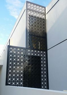 Laser cut decorative screen manufactured by QAQ Decorative Screens & Panels, Melbourne, VIC. This is the 'Valencia' design. Laser Cut Aluminum, Aluminum Fence, Valencia, Mid Century Landscaping, Decorative Screen Panels, Laser Cut Screens, Wrought Iron Gates, Iron Steel, Doors