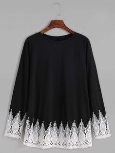 Black Contrast Crochet Trim T-shirt