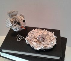Book Sculpture, Book Art, Paper Birds, Paper Art, Book Page Art, Book Page Birds, Bird Gift, Recycled Book Art, Unique Gift by BookFancy on Etsy