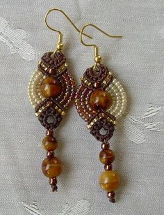 Two Tone Fans Earrings in Creamy Caramel - micro macramé but could adjust to stitching (dig)