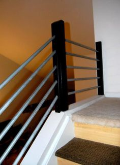 Best Stair Railing Constructed Of Painted Galvanized Gas Pipe 640 x 480