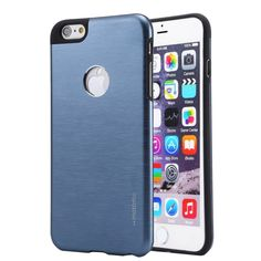 [€1.94] MOTOMO Brushed Texture Metal + TPU Protective Case for iPhone 6 & 6s(Dark Blue)