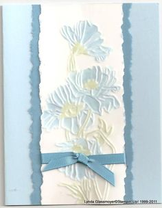 handmade card .... blues ... lovely coloring of embossing folder flowers ... beautiful card ....
