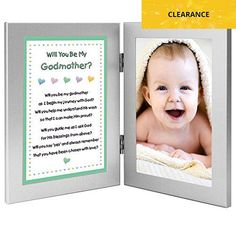 "What a cute way to ask "" #Will You Be My #Godmother?"" Insert a photo before giving the frame to the Godmother. That photo can be changed to a baptism photo after t..."