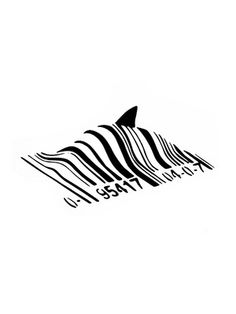 The Banksy Barcode Shark piece is starkly black and white. The art piece is the image of a shark fin surfacing beneath a product barcode. Many artists have Banksy Stencil, Banksy Art, Graffiti Art, Bansky, Barcode Art, Barcode Design, Graphic Design, Banksy Canvas Prints, Canvas Artwork