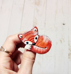 Fox Jewelry Brooch Animal Fox Jewelry Pin Polymer by LullabyForFox