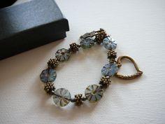 Czech glass beads Glass bracelet Bronze bracelet Heart charm Summer love - pinned by pin4etsy.com
