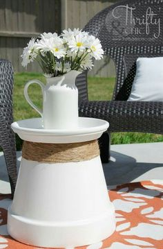 Flower pot and saucer side table