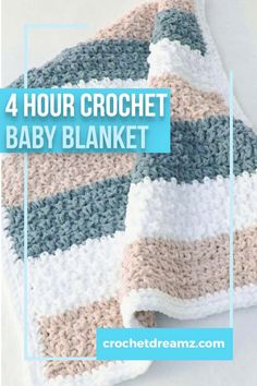 Try this easy and quick chunky afghan free crochet pattern. This fast baby blanket will take only 4 hours and will make a great baby shower gift paired with a book or a soft toy. The stitch pattern is simple and perfect for beginners. #crochetblanket, #freecrochetblanket, #crochetafghan, #crochetbabyblanket, #crochet