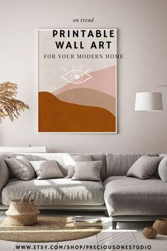 Beautiful wall prints that will make the perfect addition to your bedroom or living room decor. Warming, rich, neutral, and earthy tones. Abstract / mid-century style have a calming aesthetic and will perfectly compliment your modern, minimal, maximal, or boho decor style. Personal use only. By Kalaéja Emaun at Precious One Studio.  #bohodecor #minimalism #abstract #walldecor #printableart #ontrend #meditationart #evileye #freespirit #illustration #graphicdesign #poster
