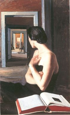 Il libro bianco (1926). Eugenio Viti (Italian, 1881-1952). Oil on canvas.  The figure looks through open door frames to indeterminant objects beyond. Others rooms may belong to her or a neighbor. Perhaps she is comparing the white page in her art book to a white canvas on what appears to be a stout easel. - #ARTEmisiaLegge - @Libriamo Tutti