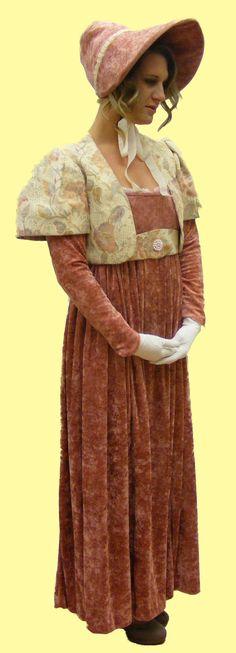 regency dress stock - Google Searchhttp://www.fairygodmother.co.uk/historical-costume-hire/regency-victorian-and-edwardian-costume-hire/regency-jane-auen-dusky-pink-with-bonnet-fancy-dress.html