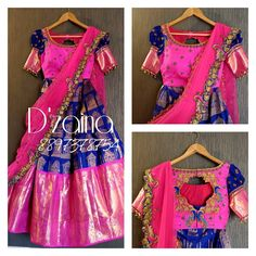 Hand Embroidery Beautiful pink and blue colot Kanjiwaram lehenga with Tajmahal design. Blouse with floral design hand embroidery work. Lehanga and blouse with pink color net dupatta. 15 May 2018 - Kids Blouse Designs, Sari Blouse Designs, Lehenga Designs, Hand Designs, Half Saree Lehenga, Kids Lehenga, Saree Blouse, Saree Dress, Bridal Lehenga