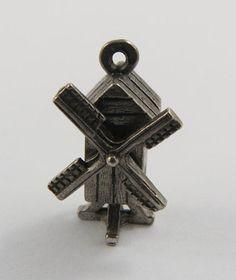 Windmill Mechanical Sterling Silver Vintage Charm For Bracelet