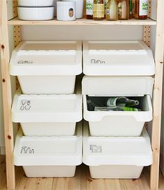 Inspiration for your kitchen - IKEA Part of a wooden shelf for the open storage of recycling bins The decoration of our home is a lot like an exhibition spa.
