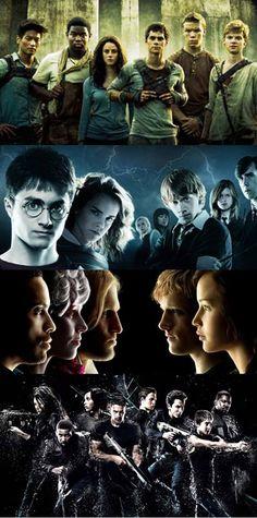 The Maze Runner, Harry Potter, The Hunger Games, Insurgent