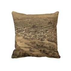 Vintage Pictorial Map of Salem Oregon (1876) Throw Pillows from Zazzle.com $62.40