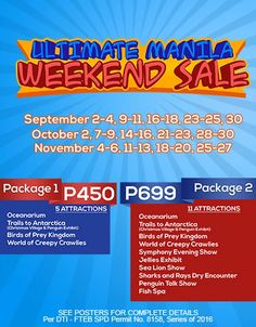Exclusive perks to all certified Manilenos!  Check out Manila Ocean Park's Ultimate Manila Weekend SALE!  Get packages for as low as P450! Promo available until November 27, 2016. Terms and conditions apply.  For more promo deals, VISIT http://mypromo.com.ph/! SUBSCRIPTION IS FREE! Please SHARE MyPromo Online Page to your friends to enjoy promo deals!