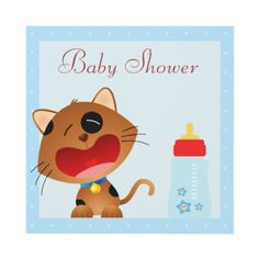 Super cute crying kitten baby shower shower invites. Decorated both sides. Invitations are easy to customize. Good volume discounts $1.80