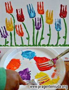 Arte - Pintura com garfinhos | Pra Gente Miúda