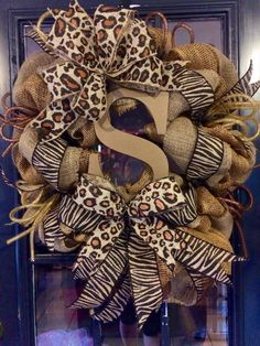 Fall Animal Print Monogram Burlap Wreath by WreathsbyLaura on Etsy … Deco Mesh Wreaths, Fall Wreaths, Burlap Wreaths, Animal Print Classroom, Animal Print Decor, Animal Prints, African Christmas, Wreath Supplies, Diy Wreath