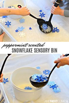 Love this fine motor snowflake winter sensory bin for toddlers! Snowflake sensory bin with peppermint scented water - a fun winter sensory bin for toddlers and preschoolers Winter Activities For Toddlers, Snow Activities, Winter Crafts For Kids, Winter Kids, Sensory Activities, Frozen Activities, Snow Crafts, Snow Theme, Winter Theme